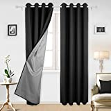 Deconovo Black Blackout Curtains with Backside Silver Grommet Top Curtains Silver Curtains for Living Room 52W x 95L Inch Black 2 Panels