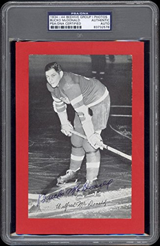 1934-44-Beehive-Bucko-McDonald-Detroit-Red-Wings-AutographedSigned-PSADNA-Certified-Hockey-Slabbed-Autographed-Cards