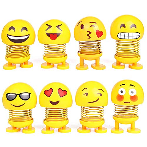 PROLOSO Spring Emoji Shaking Head Dolls Smiley Face Dancing Noddig Toys Theme Party Favors Car Dashboard Table Decoration Pack of 8 -