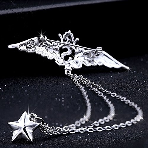 9e3ee7e60110 Amazon.com: Men brooch badge angel wings suit chain pin buckle collar pin  women girls retro badge brooch