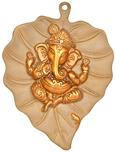 Exotic India Pipal Leaf with Central Ganesha Motif Wall-Hanging - Brass Statue - Color Cemented Gold Color