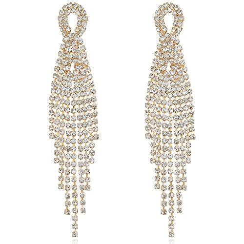 DMI Gorgeous Jewelry Gold-Tone Hollow Long Chandelier Rhinestone Tassel Dangle Drop Earrings for ()