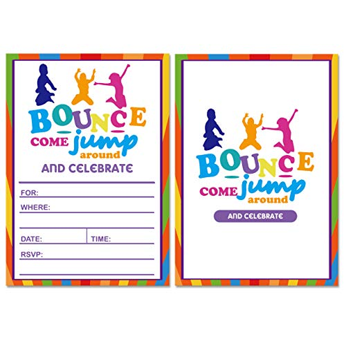 30 Bounce House or Jumping Party Invitations With Envelopes - Kids Birthday Invitations for boys or girls.
