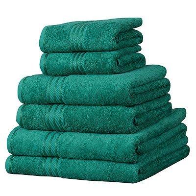 Linens Limited Set de 6 serviettes d'hôtel SUPREME en coton égyptien, 500 g/m², vert foncé 500 g/m² vert foncé