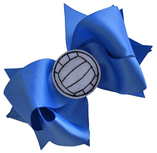 VOLLEYBALL BOW Girls 4.5 Inch Grosgrain Volleyball Hair Bow with Embroidered Volleyball By Funny Girl Designs (ROYAL BLUE) ()