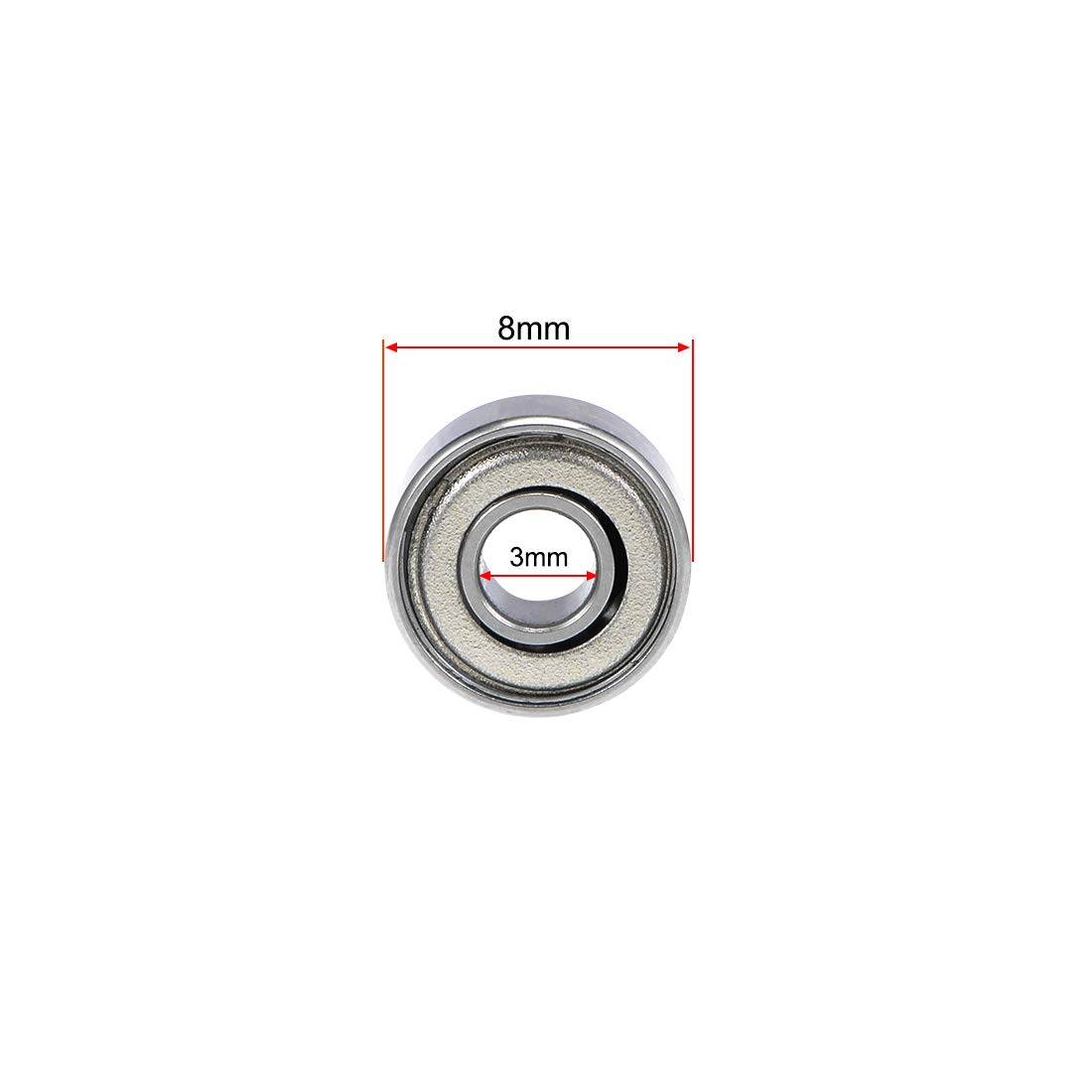 sourcing map 693ZZ Deep Groove Ball Bearing 3x8x4mm Double Shielded Carbon Steel Bearings 5-Pack