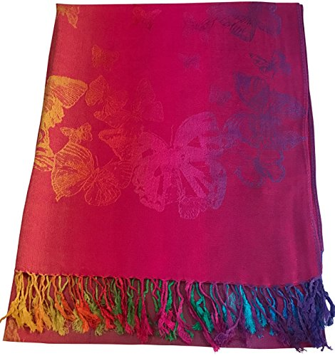 CJ Apparel Hot Pink Butterfly Design Shawl Scarf Wrap Stole Pashmina Seconds (Hot Pink Pashmina Scarf)