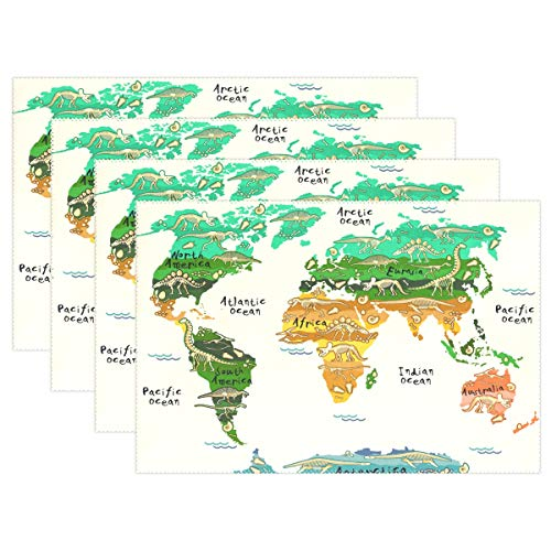 Yochoice ALAZA Vintage World Map with Dinosaurs Placemat Plate Holder Set of 6, Polyester Table Place Mats Protector for Kitchen Dining Room 12