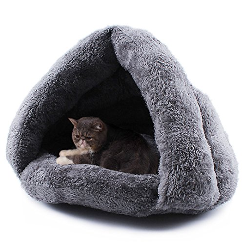 Cat Bed Pets Bed Triangle Burrow Soft Fleece Cat Sleeping Bed Cave for Cat Puppy Rabbit Small Animals