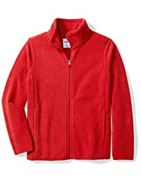 Amazon Essentials Big Boys' Full-Zip Polar Fleece Jacket, Strong Red, Medium