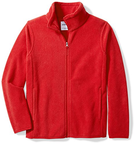 (Amazon Essentials Big Boys' Full-Zip Polar Fleece Jacket, Strong Red, Large)