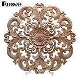 ZANAN Figurines & Miniatures - Woodcarving Furniture Decoration Solid Wood Door Round Applique Flower Him Miniature Crafts Figurine Storm 1 PCs