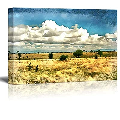 Canvas Prints Wall Art - African Savannah Landscape with Several Trees Illustration - 12