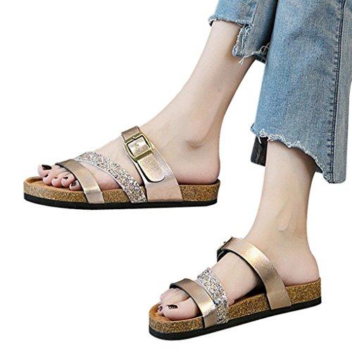 Womens Flip Flops Flat,Vanvler Ladies Sequins Flat Sandals - Thick-soled Cork Slippers Cross Strap Shoes by Vanvler-Sandals