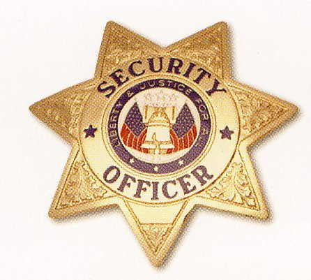 HWC Seven (7) Point Star SECURITY OFFICER Badge - Security Gold Badge