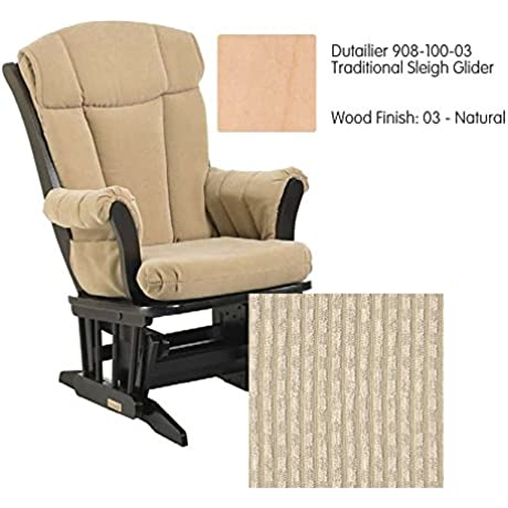 Dutailier 908 Series Traditional Sleigh Maple Glider In Natural With Cushion 0239