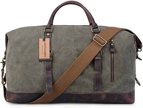 Army green JackChris Oversized Canvas Leather Trim Travel Tote Duffel CB1004