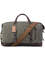 Jack&Chris® Oversized Canvas Leather Trim Travel Tote Duffel shoulder handbag Weekend Bag CB1004 (Army Green)
