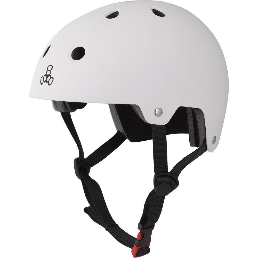Triple Eight 3017 Dual Certified Helmet, Small/Medium, White Rubber