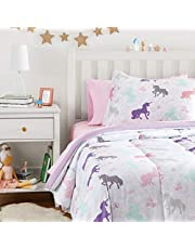 AmazonBasics Easy-Wash Microfiber Kid's Bed-in-a-Bag Bedding Set - Twin, Purple Unicorns