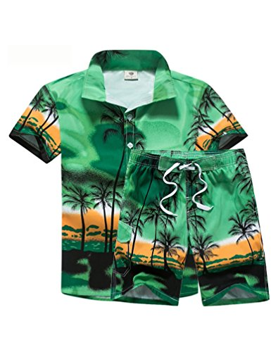 Lavnis Men's Short Sleeve Shirt and Shorts Floral Beach Casual Shirt Suit Green XL