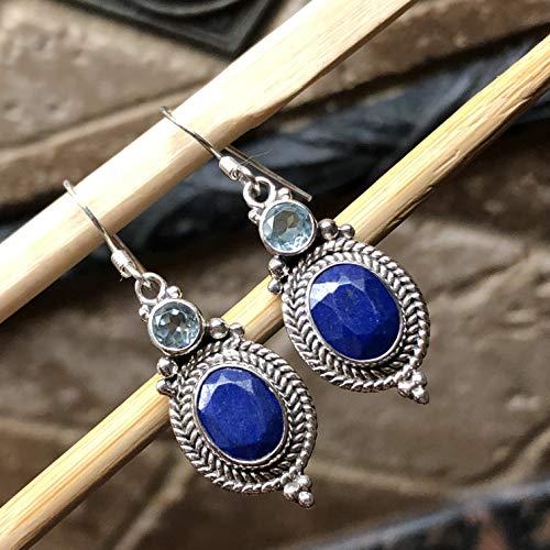 Genuine Blue Lapis Lazuli, Blue Topaz 925 Solid Sterling Silver Designer Earrings 40mm ()