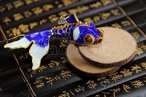 Fish Cloisonne - Articulated Cloisonne Enamel Chinese Gold Fish Figurine Pendant Ornament Gift