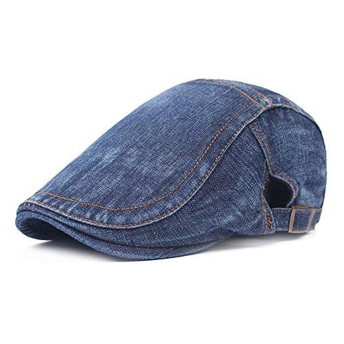 Sunflyfashion Men Blue Denim Peaked Ivy Cap Golf Driving Flat Cabbie Newsboy Beret Hat (Solid-Dark - Ivy Denim Cap