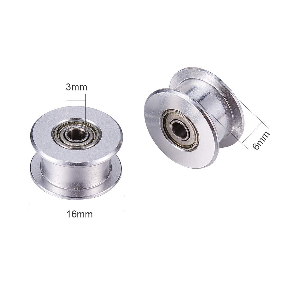 Bore 3mm, Toothless INCREWAY 5 Pcs GT2 Synchronous 3mm Bore Teethless Aluminum Idler Toothless Pulley for 3D Printer 6mm Width Timing Belt