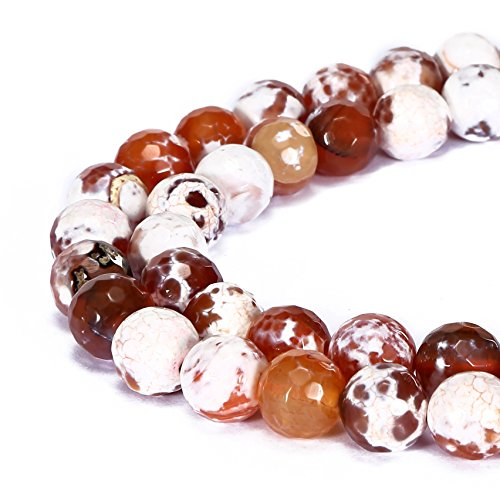 BRCbeads Gorgeous Natural Red Fire Agate Gemstone Faceted Round Loose Beads 10mm Approxi 15.5 inch 35pcs 1 Strand per Bag for Jewelry Making