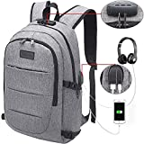 Tzowla Business Laptop Backpack Water Resistant Anti-Theft College Backpack with USB Charging Port and Lock 15.6 Inch Computer Backpacks for Women Men, Casual Hiking Travel Daypack (A-Gray)