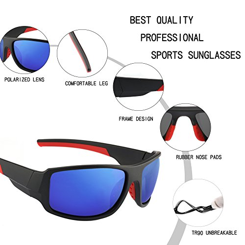 Men's Cycling Outdoor Sports Polarized Sunglasses 100% UV protection Unbreakable TR90 Frame Glasses by JIANGTUN (Image #2)