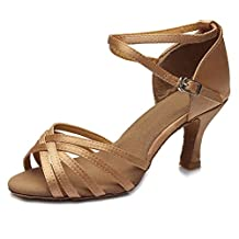 HIPPOSEUS Women's Satin Latin Dance Shoes Ballroom Dancing Shoes,Model 213