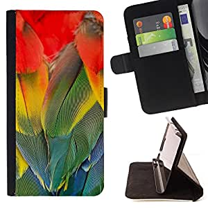 DEVIL CASE - FOR Apple Iphone 5C - Parrot Feathers Rainbow Colorful Bird - Style PU Leather Case Wallet Flip Stand Flap Closure Cover