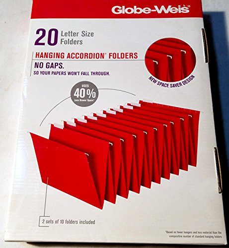 20 Hanging Accordion Folder Letter 8-1/2' 'x 11'' Red - Globe-Weis