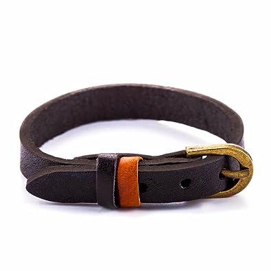 b34a8ae37f9cb Amazon.com: Zen Styles Men's Black Leather Bracelet, Cuff Wristband ...