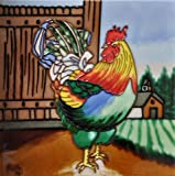 Continental Art Center Multi-Color Rooster BD-0703 Decorative Art Tile, 8'' x 8''