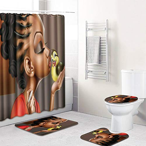 4PCS Shower Curtain Set, Jessie storee African Female European American Style Bathroom Mat Dry Wet Separation Toilet Pad Cover Bath Mat Seat Cover Rug Water-Proof Rustproof, 20 x 32 inch,