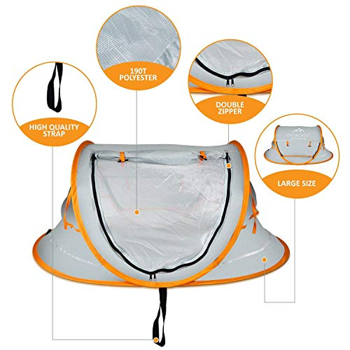 Overcrest Portable Pop Up Baby Beach Tent with UPF 50+ Sun Shade - Protection for Babies from Sunburn and Mosquitos - Lightweight, Compact and Easy Assembly - Includes 2 Pegs and Travel Bag