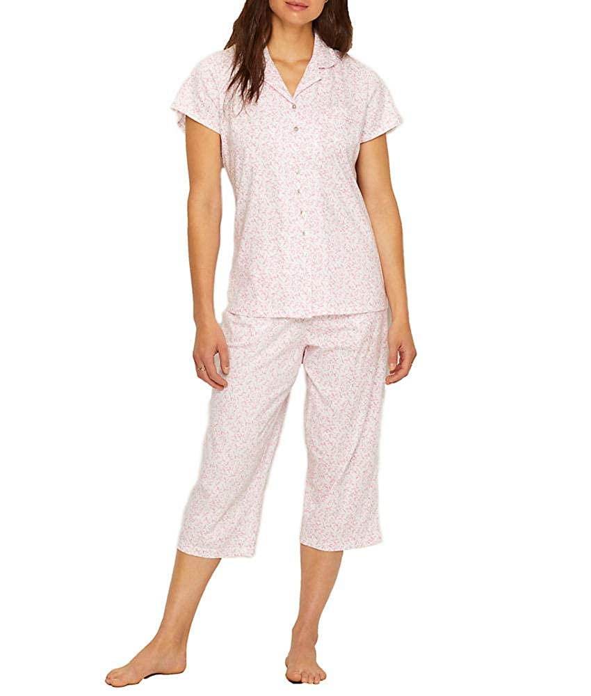 Eileen West Jersey Knit Cropped Pajama Set at Amazon Women s Clothing store  e7be11a86