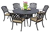 Darlee 201630-7PC-30D Cast Aluminum 7 Piece Round Dining Set & Seat Cushions, 60″, Antique Bronze Review