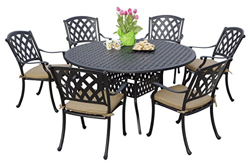 "Darlee 201630-7PC-30D Cast Aluminum 7 Piece Round Dining Set & Seat Cushions, 60"", Antique Bronze"