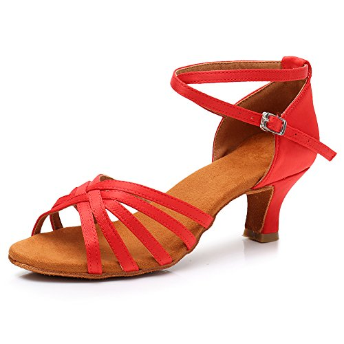 Satin Performance Salsa 1 96inch Shoes 213 Latin Dance Ballroom Red HROYL Shoes LP Heels Dance Women Hq5qY0