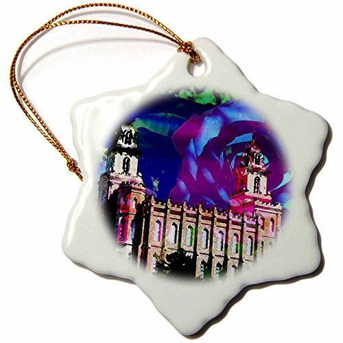 Christmas Ornament Jos Fauxtographee- Blended Layers Manti Temple - A Blended layer of the Manti Temple with flowers behind it - Snowflake Porcelain Ornament ()