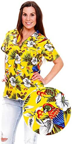 Funky Hawaiian Blouse Women Short-Sleeve Front-Pocket Cherry Parrot Multiple Colors