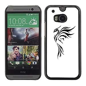 For HTC One M8 Case , Tattoo Art Simple Black White - Diseño Patrón Teléfono Caso Cubierta Case Bumper Duro Protección Case Cover Funda