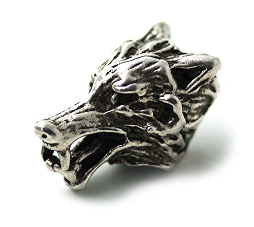 (LynnAround 925 Sterling Silver Norse Viking Wolf Head Beard Beads Rings, Dreadlock Pirate Hair Beads, Pagan Jewelry)