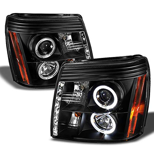 ACANII - For 2002-2003 Cadillac Escalade LED Halo DRL Black Housing Projector Headlights Headlamps, Driver & Passenger