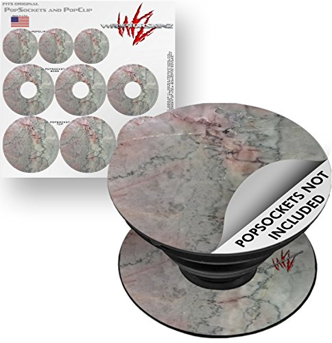 Decal Style Vinyl Skin Wrap 3 Pack for PopSockets Marble Granite 08 Pink (POPSOCKET NOT INCLUDED) by WraptorSkinz