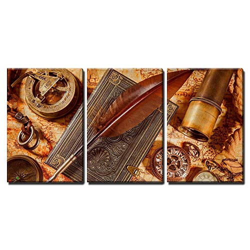 """wall26-3 Piece Canvas Wall Art - Vintage Still Life - Magnifying Glass, Pocket Watch, Old Book and Goose Quill Pen - Modern Home Decor Stretched and Framed Ready to Hang - 16""""x24""""x3 Panels"""